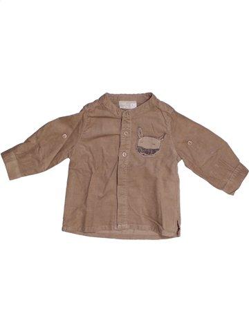Chemise manches longues garçon DPAM marron 6 mois hiver #1138670_1