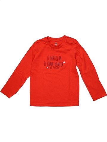 T-shirt manches longues garçon GRAIN DE BLÉ rouge 4 ans hiver #1198965_1