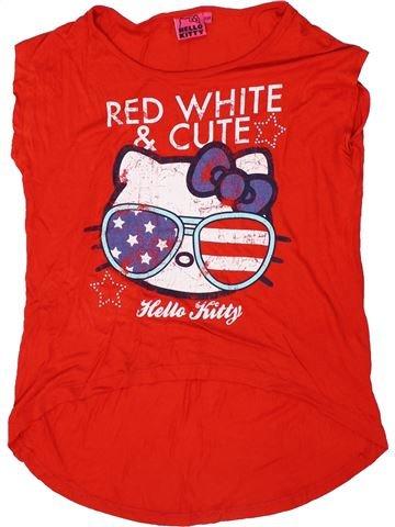 T-shirt manches courtes fille HELLO KITTY rouge 10 ans été #1300413_1
