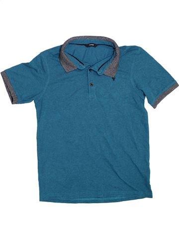 Polo manches courtes garçon GEORGE bleu 13 ans été #1304231_1