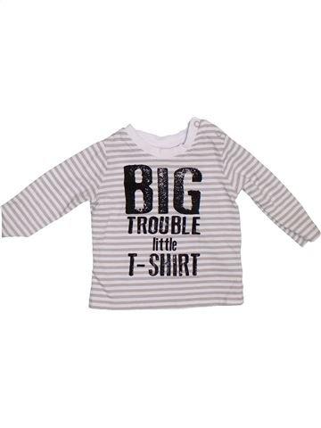 T-shirt manches longues garçon F&F blanc 1 mois hiver #1304518_1