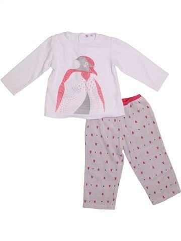 Pijama de 2 piezas niña DPAM blanco 3 años invierno #1308499_1