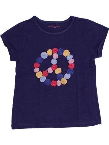 T-shirt manches courtes fille MONOPRIX bleu 5 ans été #1323324_1