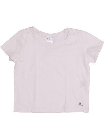 T-shirt manches courtes fille DOMYOS blanc 4 ans été #1334439_1