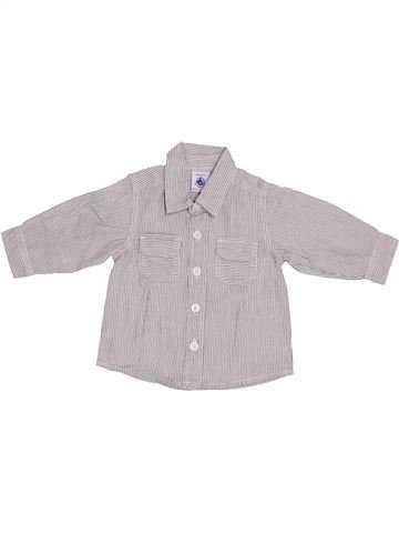 Chemise manches longues garçon PETIT BATEAU gris 3 mois hiver #1336585_1