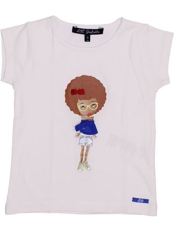 T-shirt manches courtes fille LILI GAUFRETTE blanc 5 ans été #1345423_1