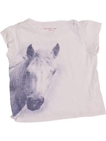 T-shirt manches courtes fille MONOPRIX blanc 4 ans été #1353728_1