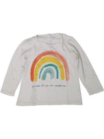 T-shirt manches longues fille BOUT'CHOU blanc 2 ans hiver #1370752_1