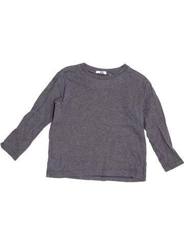 T-shirt manches longues garçon UNIQLO gris 5 ans hiver #1376531_1