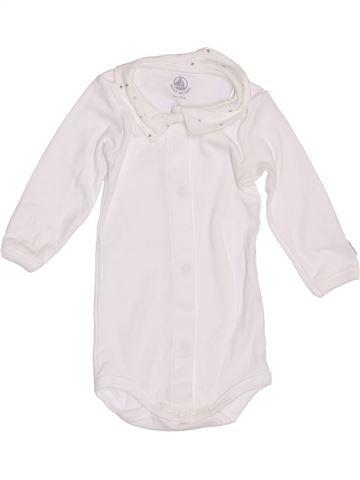 Polo de manga larga niño PETIT BATEAU blanco 3 meses invierno #1386811_1