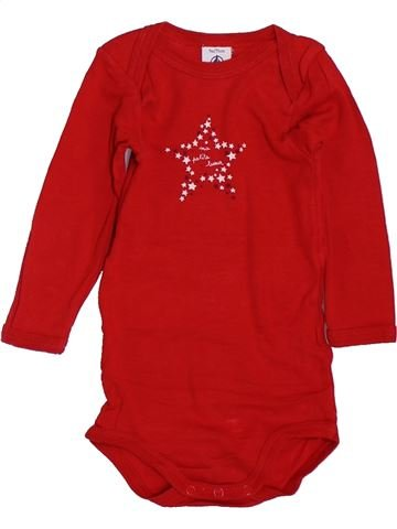 T-shirt manches longues unisexe PETIT BATEAU rouge 9 mois hiver #1397670_1