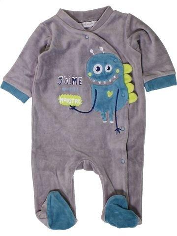 Pijama de 1 pieza niño GEMO gris 3 meses invierno #1402100_1