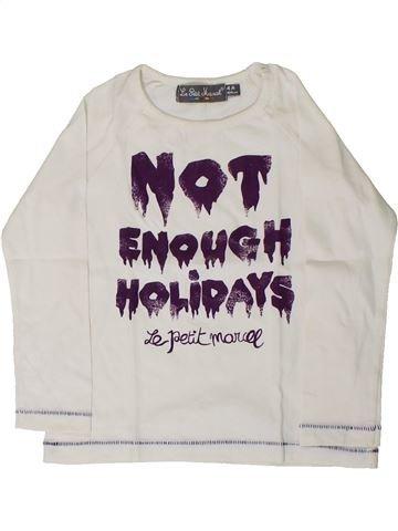 T-shirt manches longues fille LE PETIT MARCEL blanc 4 ans hiver #1406156_1