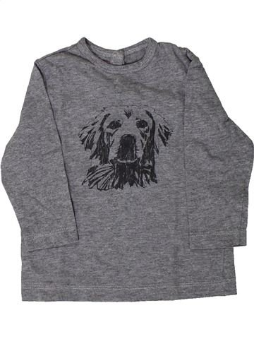 T-shirt manches longues garçon BOUT'CHOU gris 9 mois hiver #1407301_1