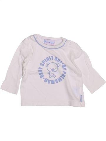 T-shirt manches longues garçon PREMAMAN blanc 3 mois hiver #1418660_1