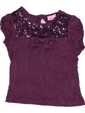 T-shirt manches courtes fille CHEROKEE violet 4 ans été #1422070_1