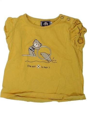 T-shirt manches courtes fille ELLE EST OÙ LA MER marron 12 mois été #1428821_1