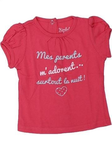 T-shirt manches courtes fille KIMBALOO rose 3 mois été #1432671_1