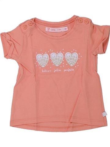 T-shirt manches courtes fille GEMO rose 6 mois été #1432967_1
