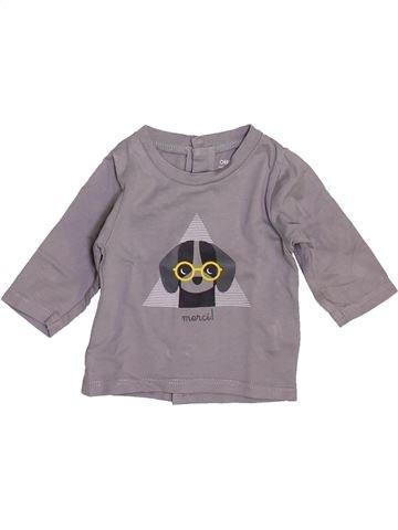 T-shirt manches longues garçon OKAIDI gris 1 mois hiver #1443295_1