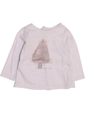 T-shirt manches longues fille OKAIDI blanc 6 mois hiver #1444133_1