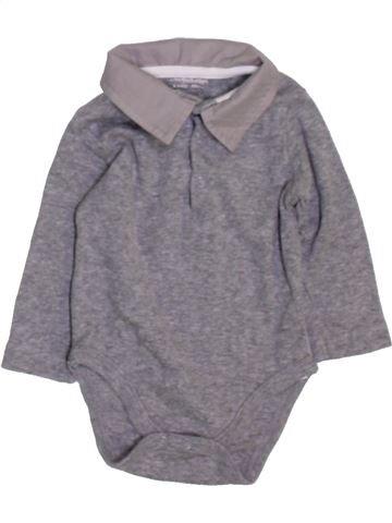 Polo manches longues garçon VERTBAUDET gris 3 mois hiver #1450490_1