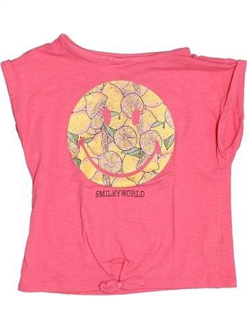 T-shirt manches courtes fille SMILEY rose 6 ans été #1487620_1