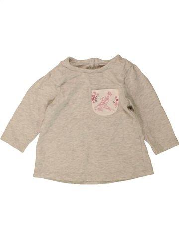 T-shirt manches longues fille GEORGE gris 3 mois hiver #1490188_1