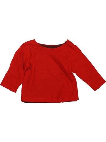 T-shirt manches longues garçon PETIT BATEAU rouge 6 mois hiver #1491103_1