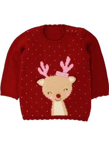 Pull fille GEORGE rouge 12 mois hiver #1494262_1