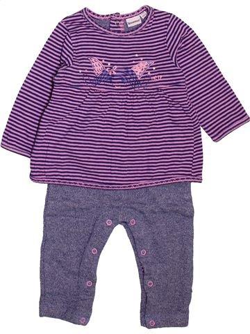 Combinaison longue fille 3 POMMES violet 6 mois hiver #1498919_1