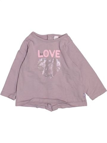 T-shirt manches longues fille OKAIDI rose 6 mois hiver #1510909_1