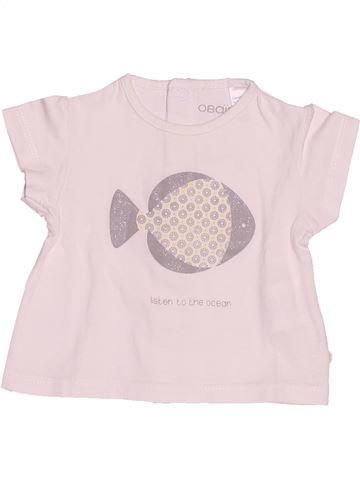 T-shirt manches courtes fille OKAIDI rose 3 mois été #1515925_1