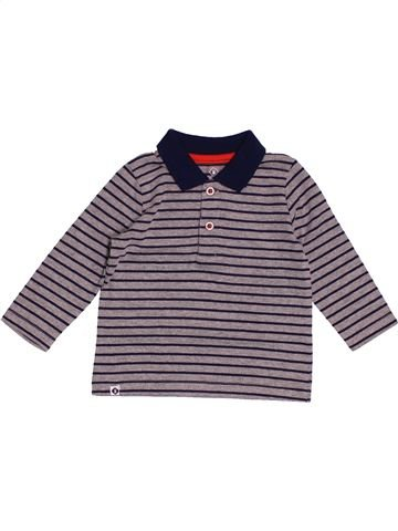 Polo manches longues garçon GRAIN DE BLÉ gris 6 mois hiver #1520301_1
