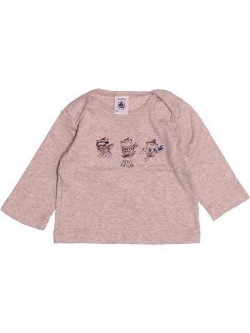 T-shirt manches longues garçon PETIT BATEAU gris 3 mois hiver #1526243_1