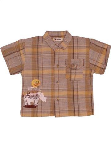 Chemise manches courtes garçon ALPHABET marron 12 mois été #1542831_1