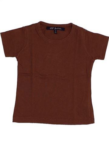 T-shirt manches courtes fille LILI GAUFRETTE marron 4 ans été #1546586_1