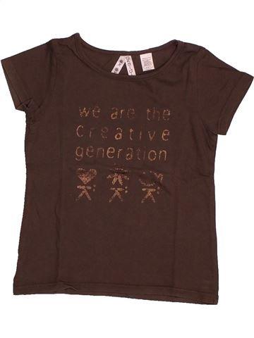 T-shirt manches courtes fille OKAIDI marron 4 ans été #1561049_1